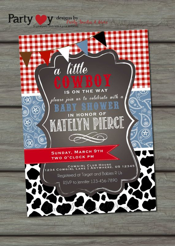 Cowboy Baby Shower Invitation Paisley Baby by PartyInvitesAndMore