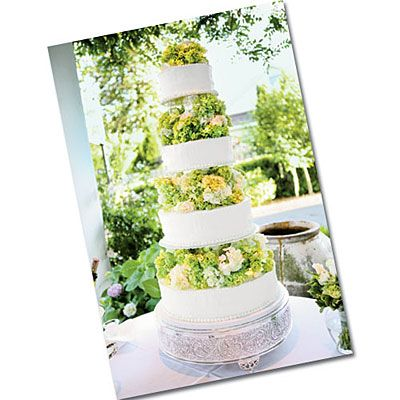 Tall Green and White Wedding Cake | Four tiers of cake were separated by green hydrangeas fit in well with the backyard garden theme of this Southern-style wedding.