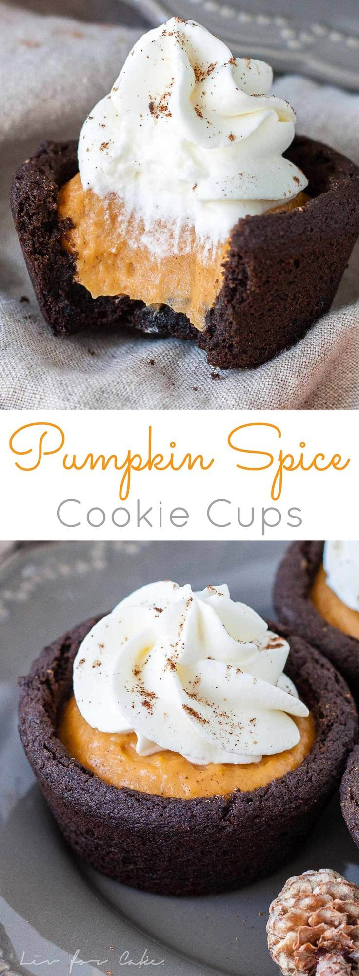 Satisfy your Fall cravings with these easy Pumpkin Spice Cookie Cups! Chewy chocolate cookie cups filled with pumpkin pudding and topped with whipped cream. | http://livforcake.com