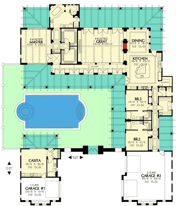 Southwest home plans with casita house plan 2017 for Southwest floor plans