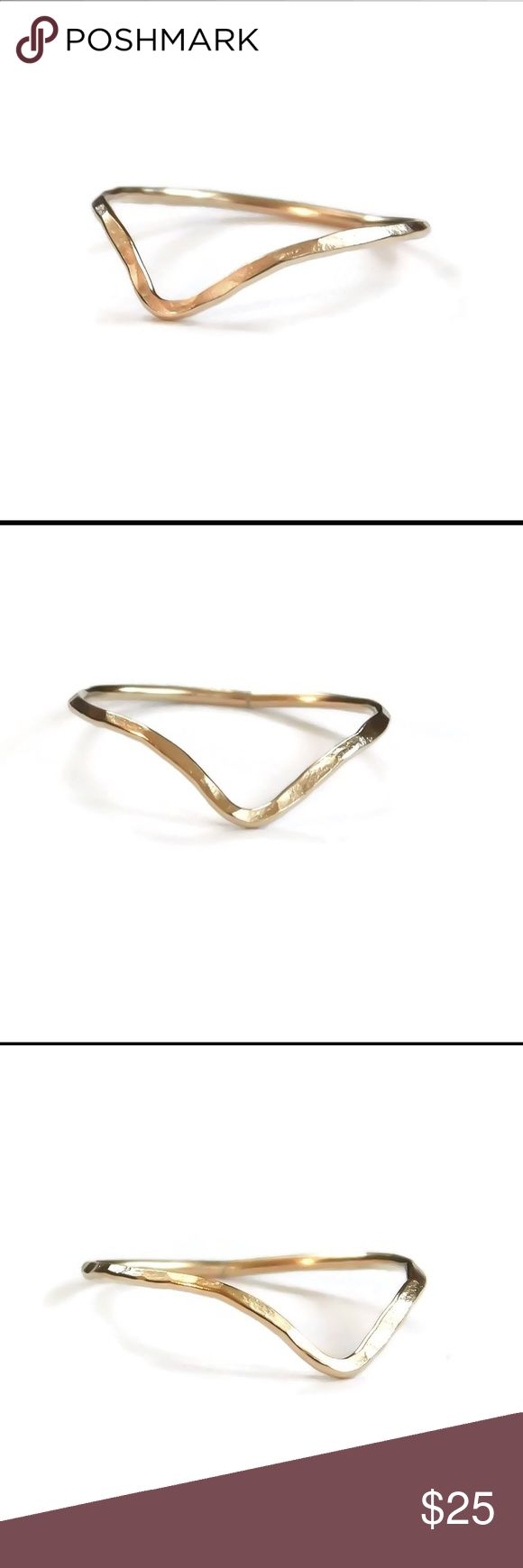 Gold chevron ring A 14k yellow gold filled hammered chevron ring. Can be worn as either a Midi/knuckle, thumb, or ring for any finger. Available in any size 2-13. Posh rules only, no trades, no PayPal, no lowball offers. nejd Jewelry Rings