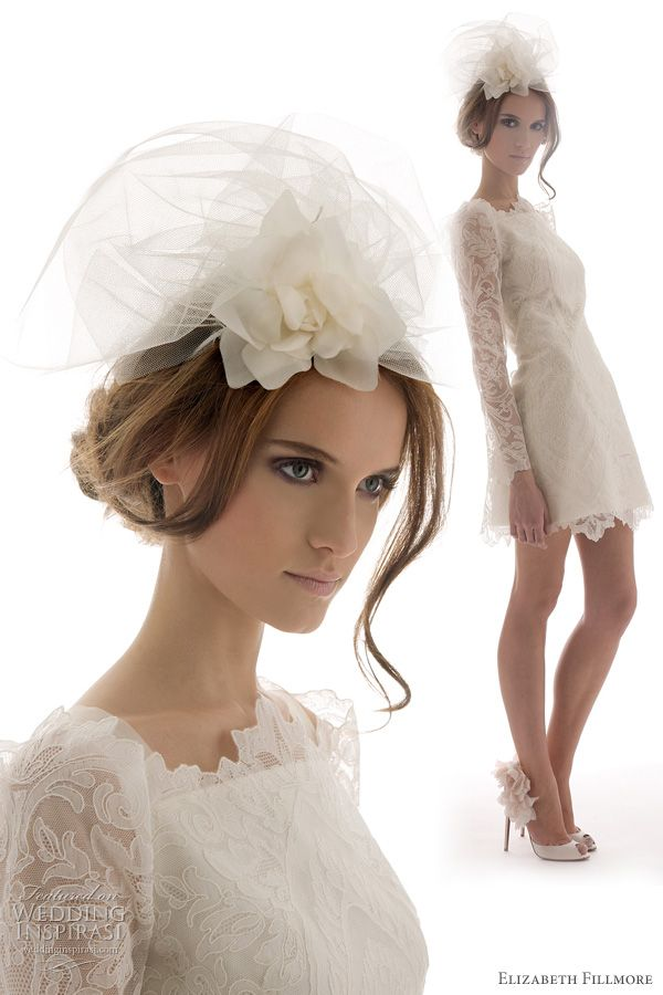 elizabeth fillmore // belle wedding gown // french embroidered lace, short dress with long sleeves