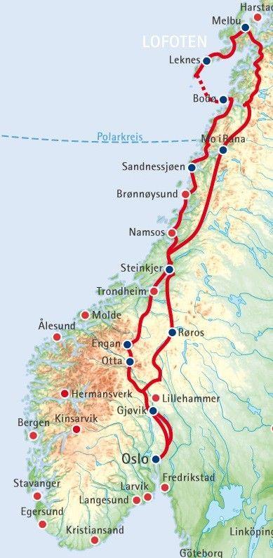 Norwegen-Rundreise bis hinauf ins Nordland: Sie passieren den Polarkreis und erreichen die Inselgruppe der Lofoten, Trondheim und die Gebirgslandschaft Fjellnorwegens.