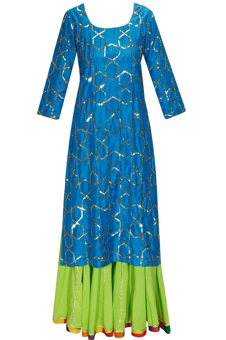 AYINAT BY TANIYA O'CONNOR Blue sequins embroidered kurta with lime sharara pants and dupatta available only at Pernia's Pop-Up Shop.