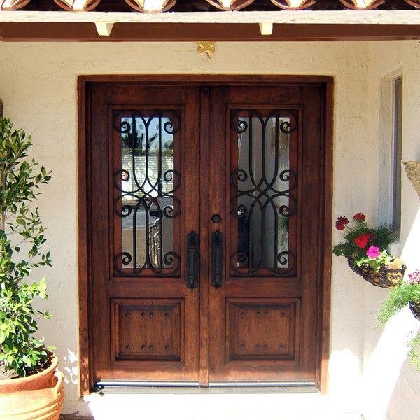 Wood And Iron Front Doors: D14 Mesquite Double Door Iron & Glass Square 6'X8'