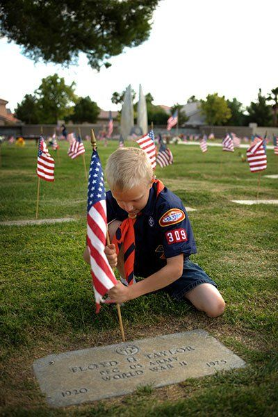 I'd like to get a picture of both boys like this when they do their boyscout Memorial Day service project