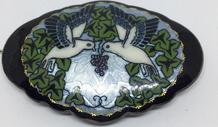 Gustav Gaudernack Norway, Sterling Silver Enamel Brooch, Antique