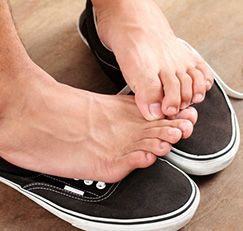 Athlete's foot is caused by a fungus that loves moisture and tight spaces, so air those toes out! And try this, too…