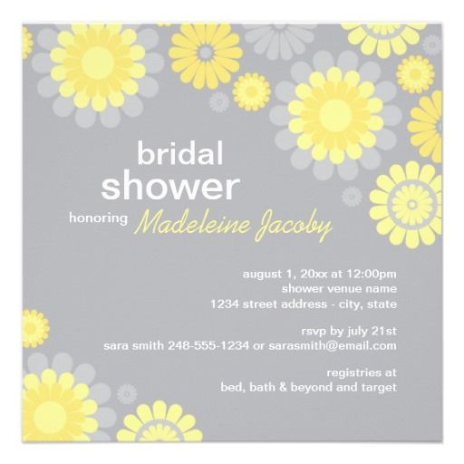 Bridal Shower Invitation | Yellow Gray Daisy #bridal #shower #weddings #invitations #art #zazzle
