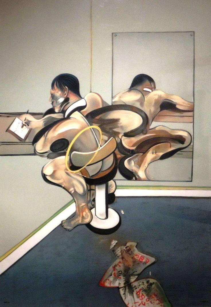 Фрэнсис Бэкон - рис Написание отражающаяся в зеркале, 1977. Литография в цветах, на Арш ткали бумаги, 1020 х 720 мм