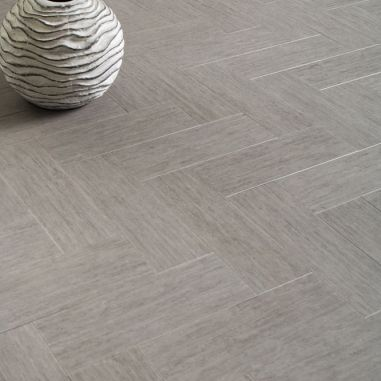 Centiva High End Vinyl Flooring - Okara Gray.......love the herringbone pattern