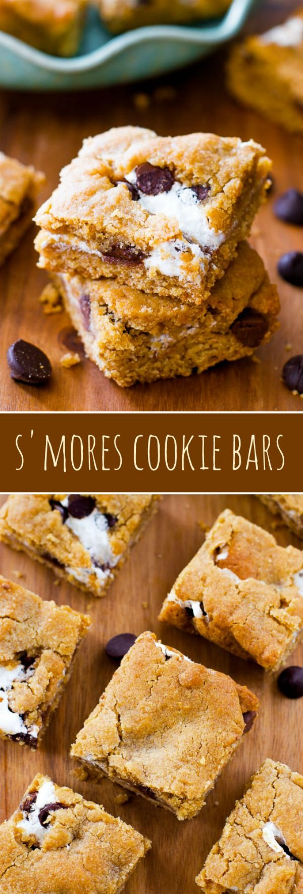 Soft and chewy graham cookie bars stuffed with marshmallow and chocolate to make S'MORES cookie bars! Recipe on sallysbakingaddiction.com
