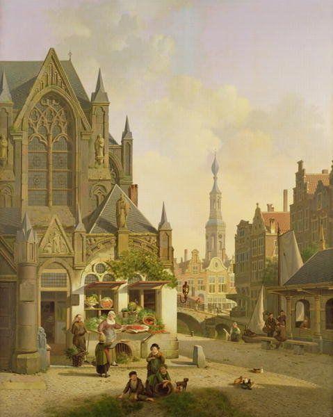Vegetable stall in a Dutch town by Jan Hendrik Verheyen