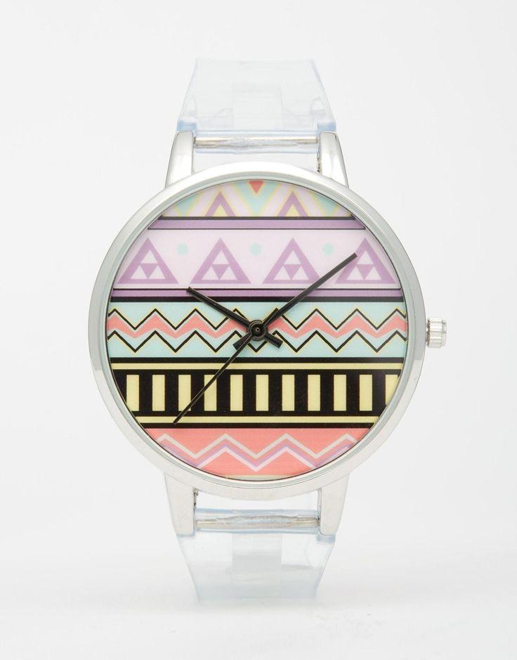 Image 1 ofASOS Geo Transparent Strap Watch
