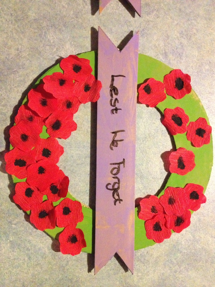 Anzac Day wreath - made from cardboard using flower cutouts of crepe paper and paint. Great craft activity with the kids.