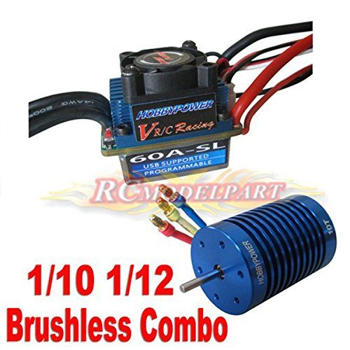 60A ESC Brushless Speed Controller + 10T 3900KV Motor for 1/10 1/12 RC Racing Car