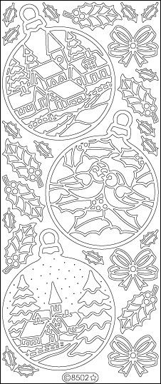 ELIZABETH CRAFT DESIGNS-Peel Off Outline Stickers: Christmas Ornaments. A great way to customize your craft and art projects! Use Peel Off Stickers on greeting cards, scrapbooking, stationary, candles
