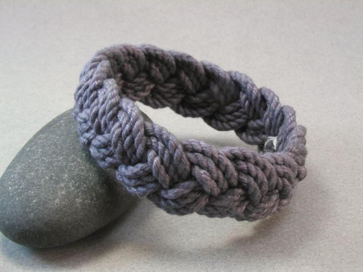 dark charcoal cotton rope bracelet #WhatKnotShop on Etsy