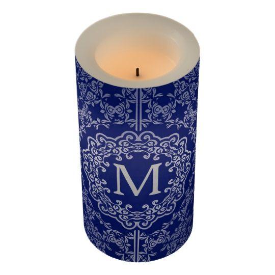 Monogram Blue & Silver Filigree Motif LED Candle