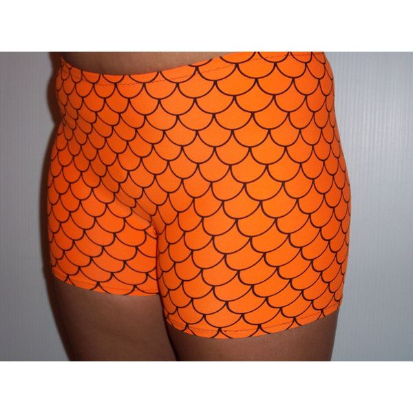Orange Mermaid Spandex Shorts Vollyball Spendex Shorts for Women... ($17) ❤ liked on Polyvore featuring brown and women's clothing