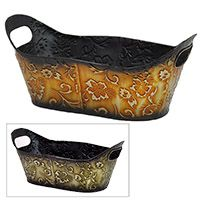 Xavier Oblong Raised Floral Container with In-Handles 14in