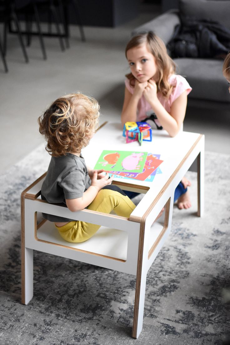 Kids space in living room area with a plywood table. Place full of fun and functionality. NUKI plywood table Flex