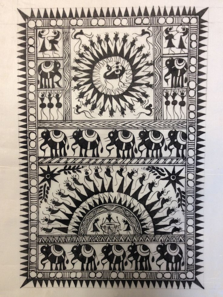 Warli painting is a very popular form of tribal painting in India. Their major themes include the harvest season, celebration, wedding, rituals and births. Warli is the name of the largest tribe found