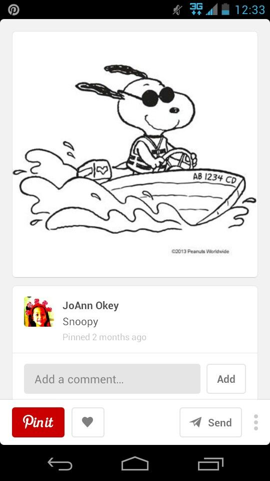 45 Best Snoopy Color Pages Etc Images On Pinterest