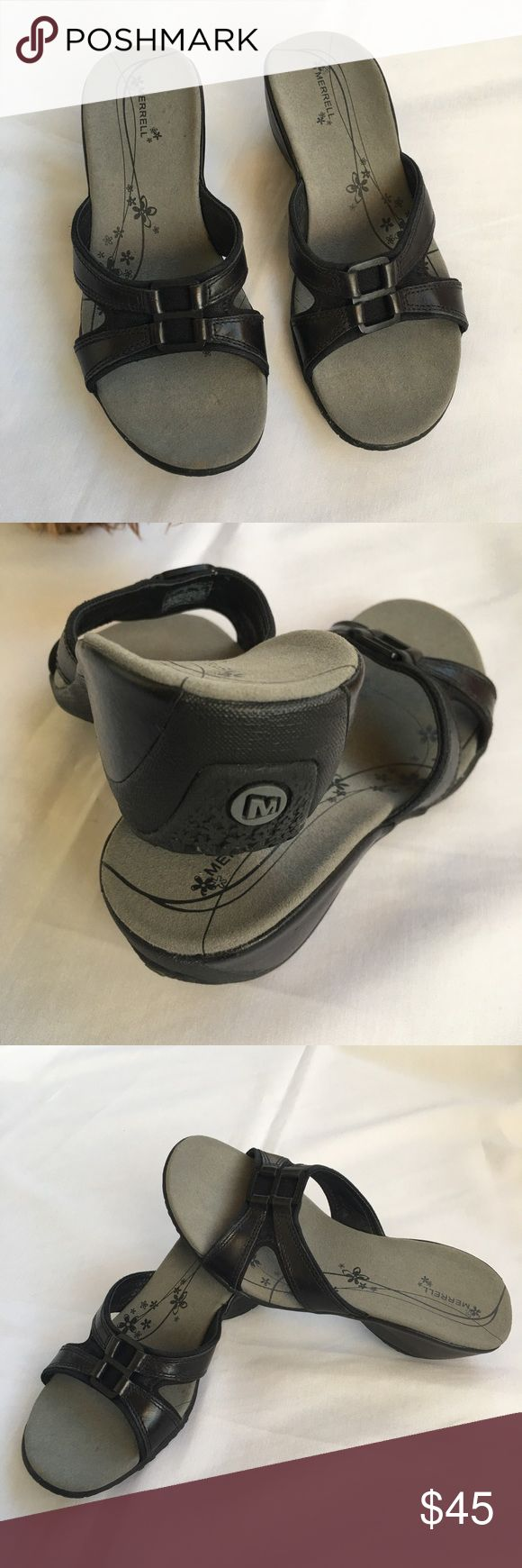 Merrill Sandals Merrill Vibram  Sandals , Air cushion heels hadn't been wore but a couple of times EUC excellent used condition. Leather size 6 , heels are 2 inches high. Merrell Shoes Sandals