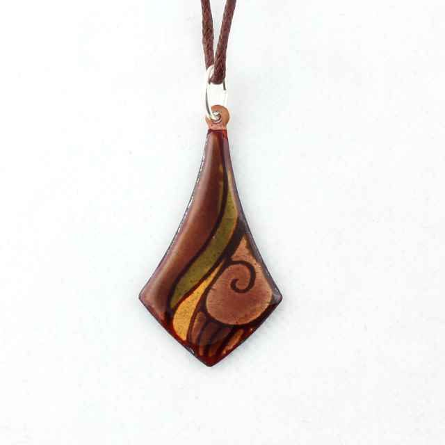 Dark and light brown enamel on copper necklace by intuitashop on Etsy