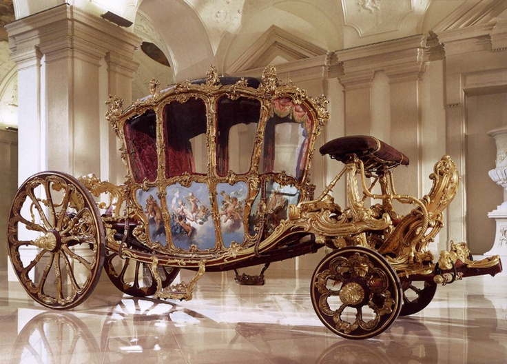 Golden Carriage, 1738   Nicolas Pineau, Painted and gilt wood, velvet with gold embroidery, length 610 cm, width 213 cm, Liechtenstein Museum, Vienna