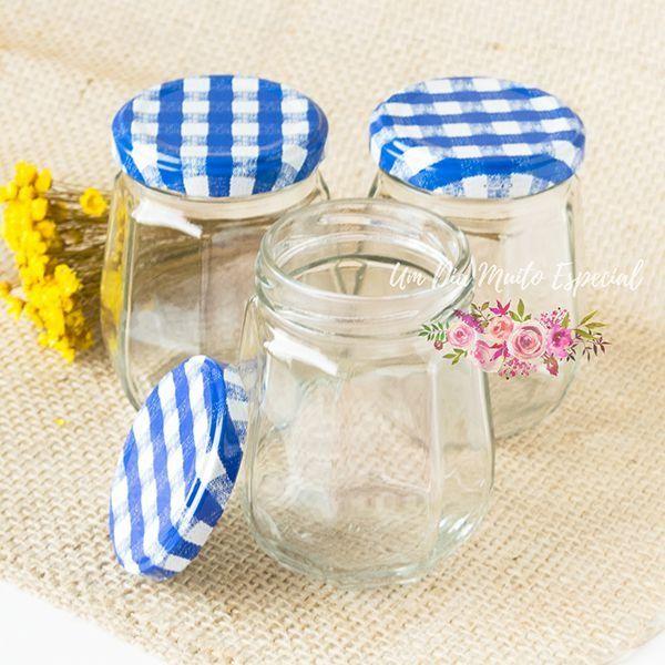 pote vidro oitavado tampa xadrez azul 240ml ml geleia compota lembrancinha decoração casamento festa - Lembrancinhas e Decoração Romântica para Festas | Um Dia Muito Especial