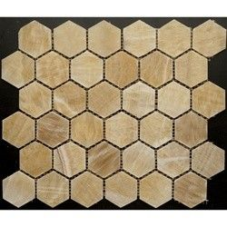 2x2+Honey+Onyx+Hexagon+Pattern+Polished+Finish+Mosaic+Tile+-+2+in.+x+2+in.+Honey+Mesh-Mounted+Hexagon+Pattern+Polished+Finish+Onyx+Mosaic+Tile  is a+great+way+to+enhance+your+decor.+This+Polished+Mosaic+Tile+is+constructed+from+durable,+impervious,+translucent,+Onyx+material,+comes+in+a+smooth,+high-sheen+finish+and+is+suitable+for+installation+as+bathroom+backsplash,+kitchen+backsplash+in+commercial+and+residential+spaces.+This+beautiful+onyx+tile+features+a+random+variation+in+t