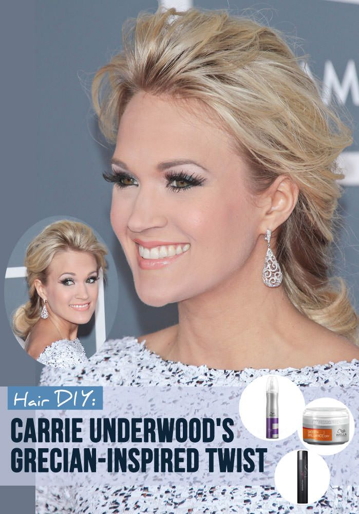 Snag Carrie Underwood's Grecian-Inspired Twist in 6 Simple Steps: http://www.latest-hairstyles.com/celebrities/carrie-underwood/grecian-twist.html#CRDVRpZ7KbmHhCIk.99
