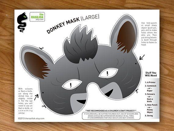 Donkey Mask Party Mask Shrek Mask Nativity by theRasilisk