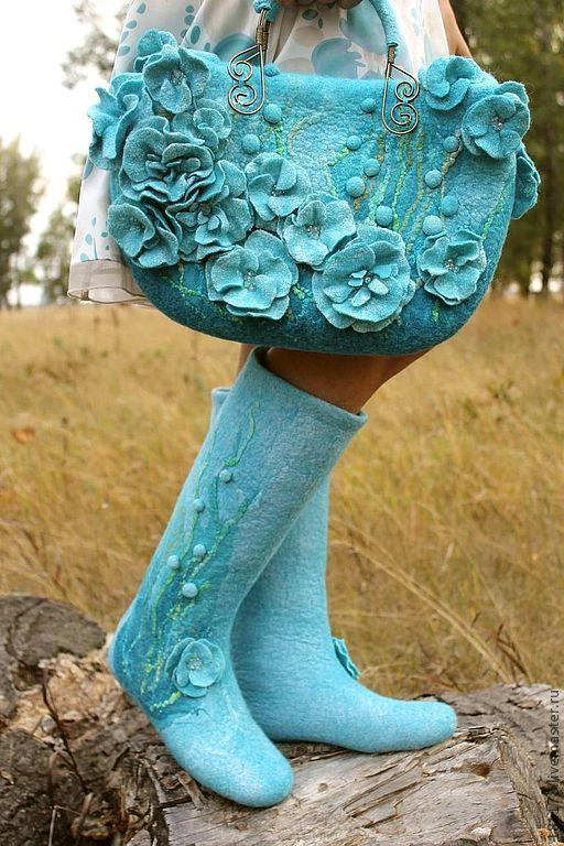 """Купить Войлочные сапожки """"Blue dream"""" - голубые валенки, голубой, нежно-голубой, нежность, романтика"""