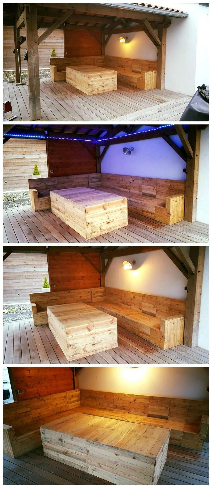 Diy outdoor patio furniture from pallets 99 pallets - Check This Out The Diy Pallet Deck Furniture Or Seating Project Under Gazebo The Targeted