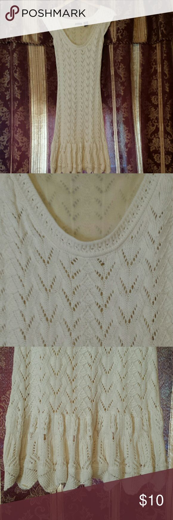 VS Sweater dress Cream cap sleeve knee length dress. Fully lined. Worn once.  Great condition. Moda International Dresses Midi