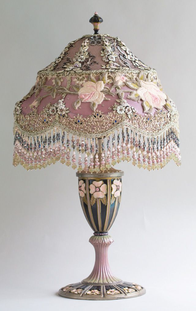 Victorian Lampshade with Roses and antique lace - beautiful