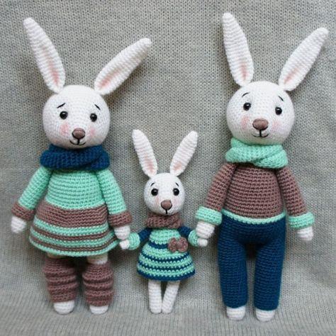 Bunny family crochet toys - free amigurumi patterns, #crochet, stuffed toy, #haken, gratis patroon (Engels), konijn familie, knuffel, speelgoed, kraamcadeau, #haakpatroon