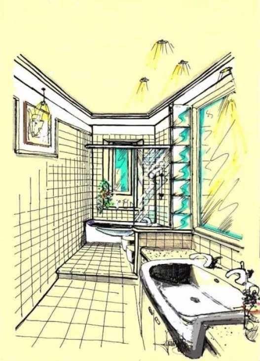 Disegno prospettico di bagno stretto e lungo | Bagni ...