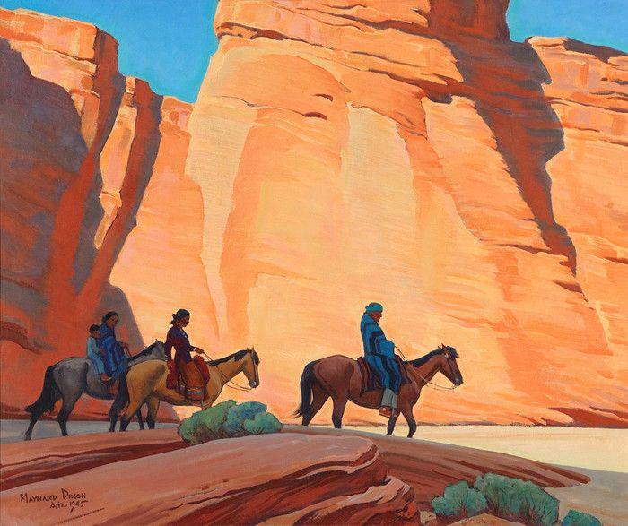 Navajos in a Canyon by Maynard Dixon | Art Posters & Prints