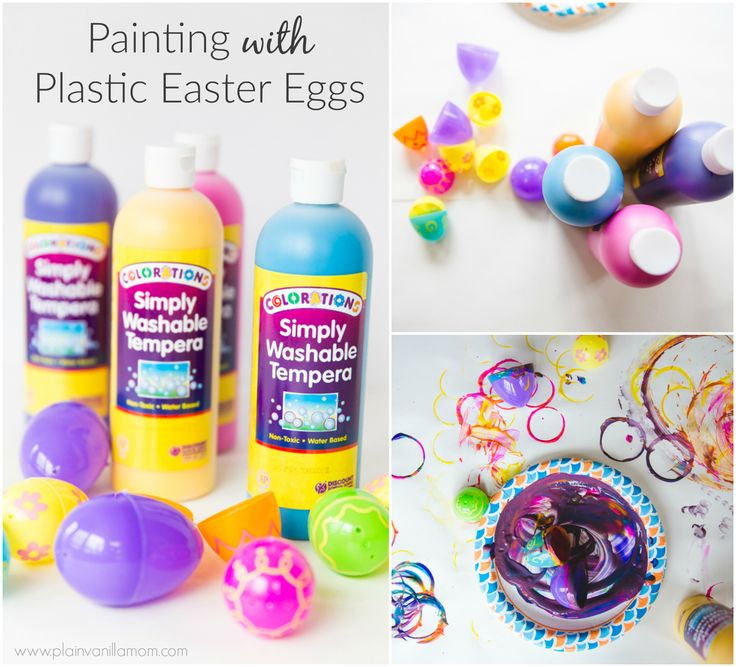 Painting with Plastic Easter Eggs - Plain Vanilla Mom