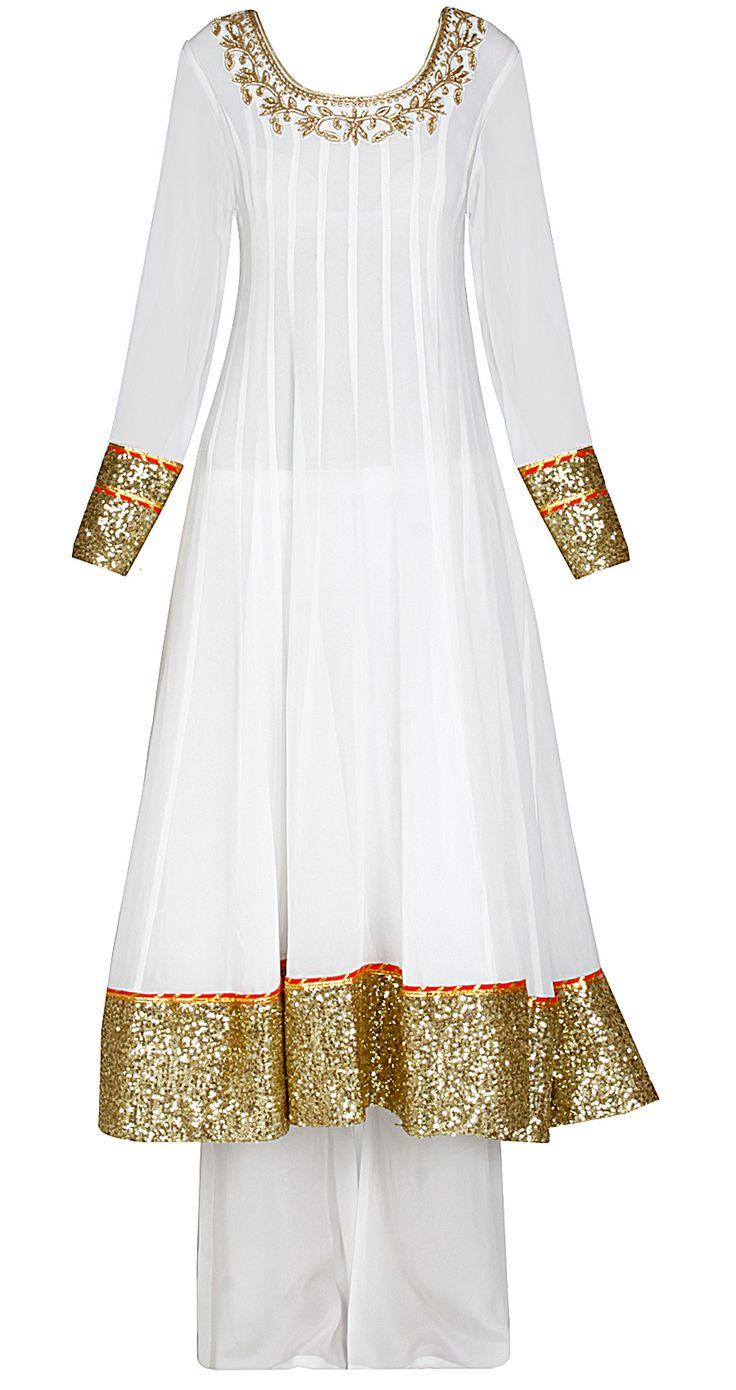Ivory anarkali set with orange leheriya dupatta by SONAL KALRA AHUJA. Shop at https://www.perniaspopupshop.com/whats-new/sonal-kalra-ahuja-5