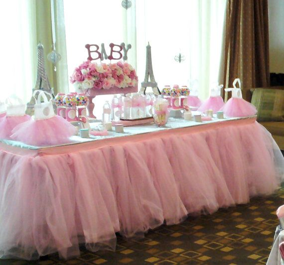 Custom Tulle Tutu Table Skirt Wedding, Birthday, Baby Shower on Etsy, $67.00