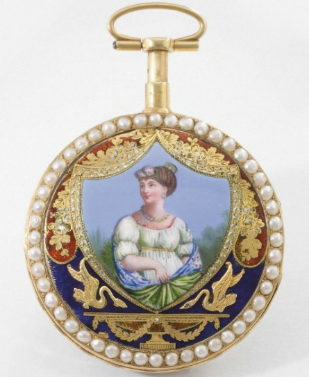 Philippe Terrot. A very fine 18K gold, enamel and pearl-set quarter repeating watch  Signed Philippe Terrot, No. 14'522, circa 1780