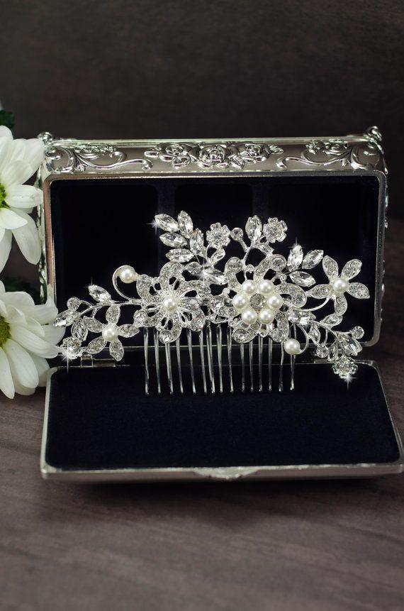 bridal hair comb rhinestone hair comb crystal by SenceOfBeauty