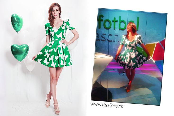 The beautiful green dress with white butterflies was chosen by lovely Geanina Iacob: https://missgrey.ro/ro/vara/rochie-blanche/324?utm_campaign=colectie_mai&utm_medium=rochie_blanche&utm_source=pinterest_produs