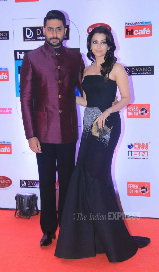 Abhishek Bachchan and Aishwarya Rai Bachchan at the HT Style Awards 2015.