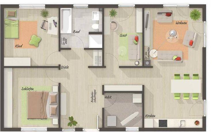 Bungalow 100 Grundriss Mit Vier Zimmern Grundriss
